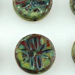 Coin Dragonfly Rustic Flat Round Czech Beads