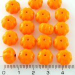 Squashed Melon Halloween Pumpkin Fruit Czech Beads - Orange - 11mm