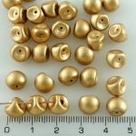Mushroom Czech Beads - Matte Gold - 9mm