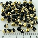 Mushroom Czech Beads - Black Gold - 6mm