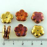 Flower Cup Large Flat Czech Beads - California Gold Rush Bronze - 14mm
