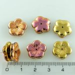 Flower Cup Large Flat Czech Beads - California Pink Gold - 14mm