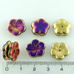 Flower Cup Large Flat Czech Beads - California Purple Gold - 14mm