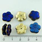 Flower Cup Large Flat Czech Beads - California Blue Gold - 14mm