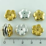 Flower Cup Large Flat Czech Beads - California Silver Gold - 14mm