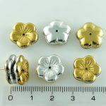 Flower Cup Large Flat Czech Beads - California Silver Gold - 14mm
