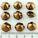 Pyramid Hexagon Two Hole Czech Beads - Jet Black Bronze - 12mm