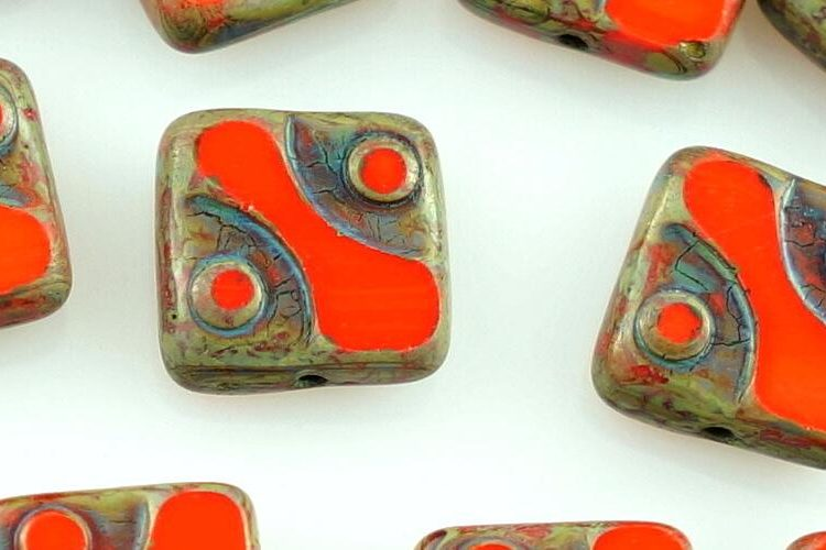 Square Window Table Cut Flat Dotted Czech Beads