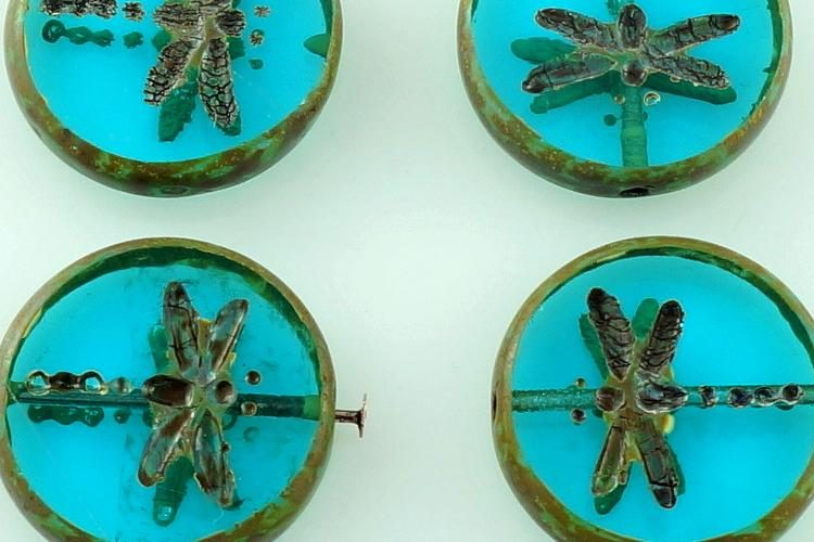 Coin Round Dragonfly Window Flat Czech Beads