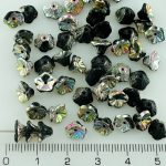 Bell Flower Caps Czech Beads - Black Silver Vitrail Half - 7mm
