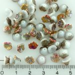 Bell Flower Caps Czech Beads - Gray White Rainbow Gold Sliperit Half - 7mm