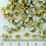 Bell Flower Caps Czech Beads - Gray White Amber Gold Half - 7mm