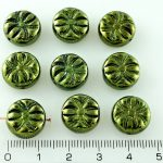 Flower Spider Czech Flat Coin Beads - Metallic Green Shiny Luster - 13mm