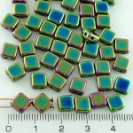 Square Silky Two Hole Flat Czech Beads - Metallic Green Iris - 6mm