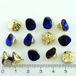 Bell Flower Lily Of The Valley Caps Czech Large Beads - California Gold Blue - 0.8x0.1x0.8cm