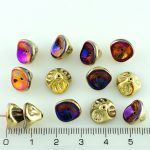 Bell Flower Lily Of The Valley Caps Czech Large Beads - California Gold Purple Vitrail - 10mm