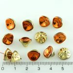 Bell Flower Lily Of The Valley Caps Czech Large Beads - California Gold Bronze Rush - 10mm