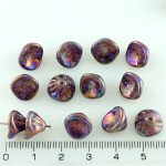 Bell Flower Lily Of The Valley Caps Czech Large Beads - Vega Purple Iris - 10mm