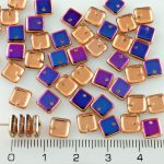 Square Paillettes Squarelet One Hole Chips Czech Beads - Crystal Sliperit Purple Blue Half - 6mm