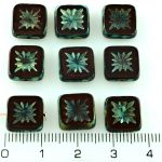 Flower Square Window Table Cut Flat Czech Beads - Picasso Brown Opaque Bordeaux Red Rustic - 10mm