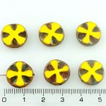 Cross Flower Coin Czech Flat Carved Table Cut Beads - Rustic Picasso Opaque Yellow Brown - 14mm
