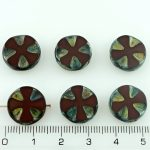 Cross Flower Coin Czech Flat Carved Table Cut Beads - Picasso Brown Opaque Bordeaux Red Rustic - 14mm