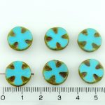 Cross Flower Coin Czech Flat Carved Table Cut Beads - Rustic Picasso Turquoise Blue - 14mm