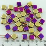 Square Silky Two Hole Flat Czech Beads - California Purple Violet Gold Half - 6mm
