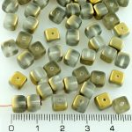 Cube Czech Beads - Matte Frosted Crystal Gold Half - 7mm