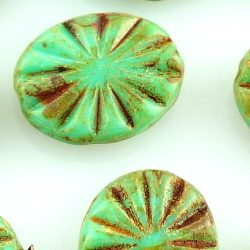 Opaque Rustic Flat Flower Sun Carved Oval Czech Beads