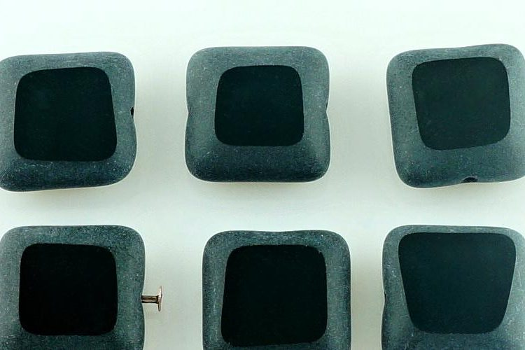 Square Flat Window Table Cut Rustic Czech Beads