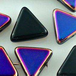 Triangle Flat Large Czech Focal Pendant Beads