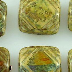 Square Flat Carved Czech Beads