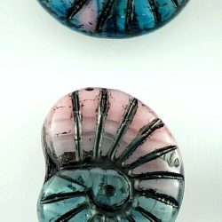 Shell Ammonite Fossil Carved Czech Beads