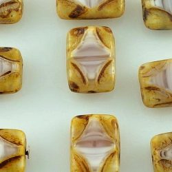 Rectangle Window Table Cut Flat Czech Carved Beads