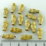 Owl Bird Animal Small Two-Sided Czech Beads - Gold - 15mm