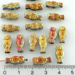Owl Bird Animal Small Two-Sided Czech Beads - Marea Gold Purple Pink - 15mm