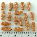 Owl Bird Animal Small Two-Sided Czech Beads - Apricot Orange Brown AB - 15mm