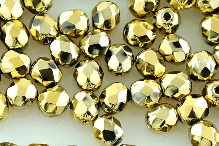 Round Faceted Fire Polished Czech Beads