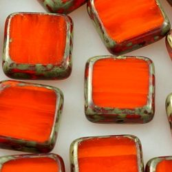 Square Flat Czech Beads
