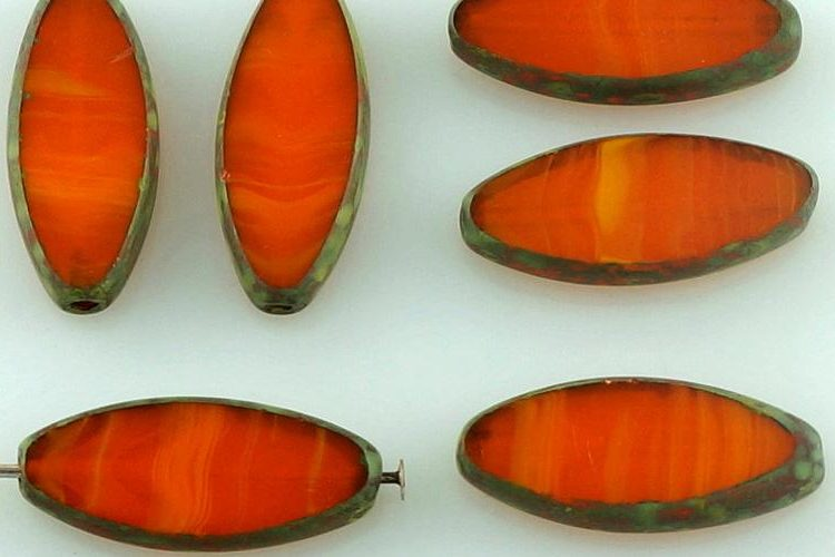 Oval Petal Flat Window Table Cut Czech Beads