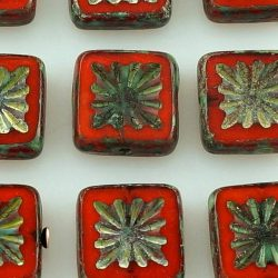 Flower Square Window Table Cut Flat Czech Beads