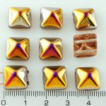 Pyramid Stud Two Hole Czech Beads - Crystal Iris Purple Yellow - 12mm