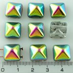 Pyramid Stud Two Hole Czech Beads - Crystal Purple Green Yellow Vitrail - 12mm