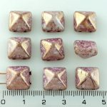 Pyramid Stud Two Hole Czech Beads - Picasso Purple Gold Luster - 12mm