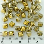 Pyramid Stud Two Hole Czech Beads - Crystal Gold - 6mm