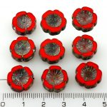 Hawaiian Flower Coin Czech Flat Carved Table Cut Beads - Rustic Picasso Red Brown - 14mm