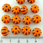 Squashed Melon Halloween Pumpkin Fruit Czech Beads - Opaque Orange Black Striped - 11mm