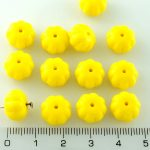 Squashed Melon Halloween Pumpkin Fruit Czech Beads - Opaque Yellow - 11mm