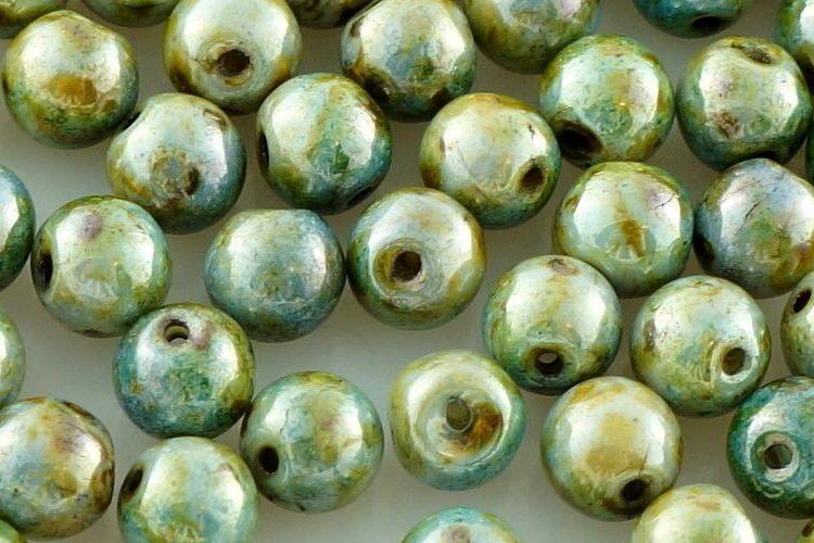 Top Hole Drop Round Druck Czech Beads